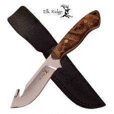 Elk ridge Maple burl Wood gut Hook Knife